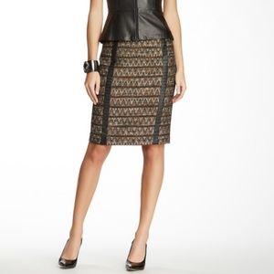 Trina Turk Tweed Skirt Leather Braided Adj Slit